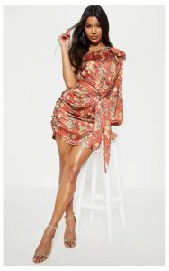 Brown One Sleeve Ruched Printed Bodycon Dress, Brown