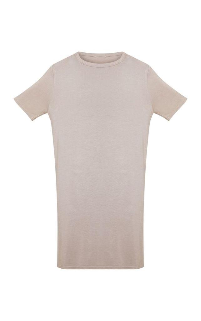 Taupe Basic Short Sleeve T Shirt Dress, Brown