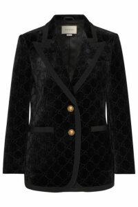 Gucci - Grosgrain-trimmed Metallic Velvet-jacquard Blazer - Black