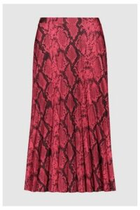 Womens F&F Pink Snake Pleated Skirt -  Pink