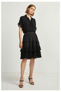 Womens French Connection Black Lace Mix Skirt -  Black