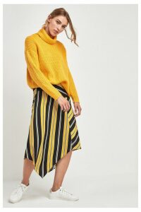 Womens F&F Yellow Stripe Asymmetric Skirt -  Yellow
