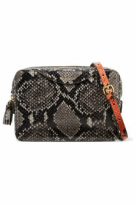 Anya Hindmarch - Double Zip Tasseled Python-effect Leather Shoulder Bag - Gray