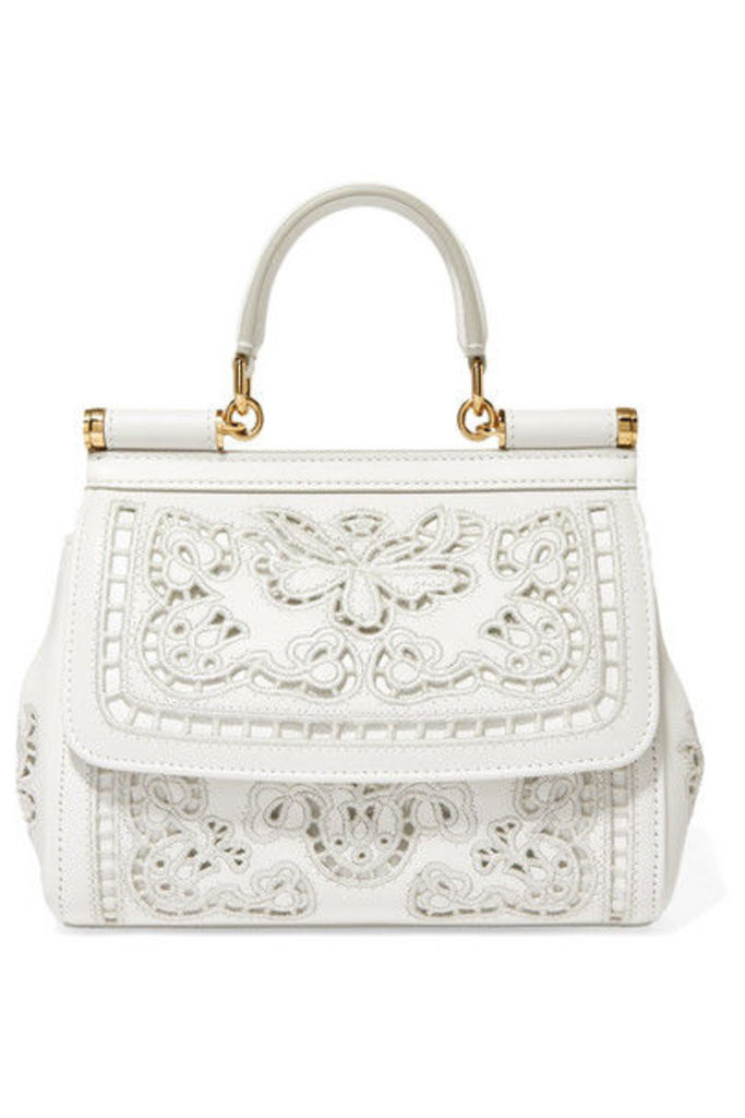Dolce & Gabbana - Sicily Small Cutout Embroidered Leather Tote - White