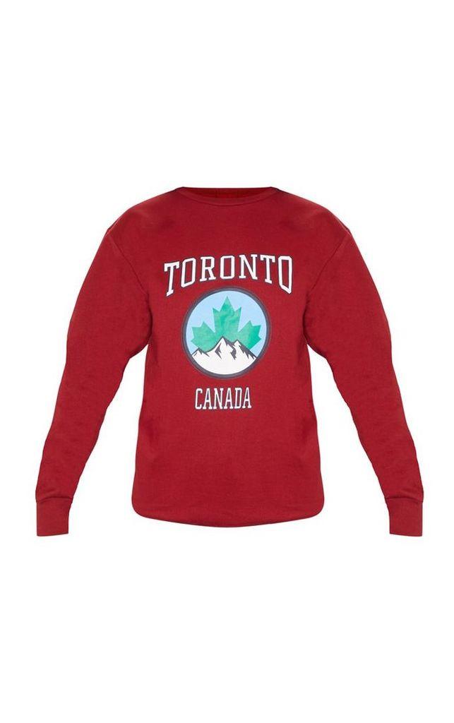 Maroon Toronto Canada Slogan Oversized Sweater, Maroon