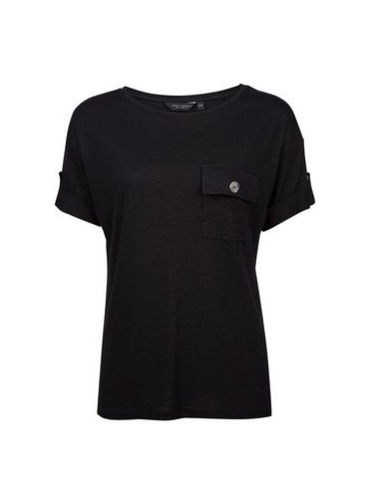 Womens Black Turnback Utility T-Shirt- Black, Black