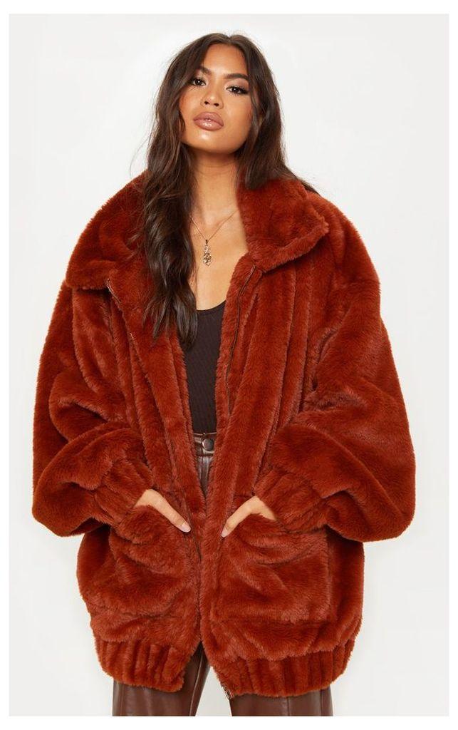 Brown Faux Fur Pocket Front Coat, Brown