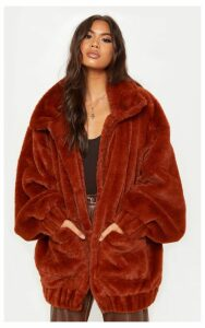 Brown Faux Fur Pocket Front Coat, Brown