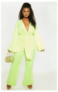 Plus Neon Lime Woven Belt Detail Blazer, Neon Lime
