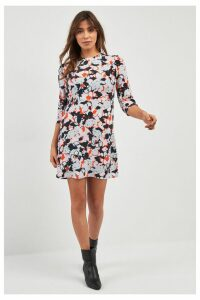 Womens Next Grey Rose Print Dress -  Grey