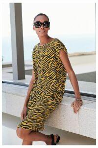 Womens Next Ochre Animal Woven Boxy T-Shirt Dress -  Yellow