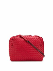 Bottega Veneta intrecciato effect crossbody bag - Red