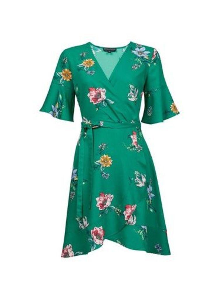 Womens **Green Floral Print Wrap Dress- Black/Green, Black/Green
