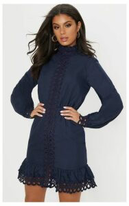 Navy Trim Detail High Neck Balloon Sleeve Shift Dress, Blue