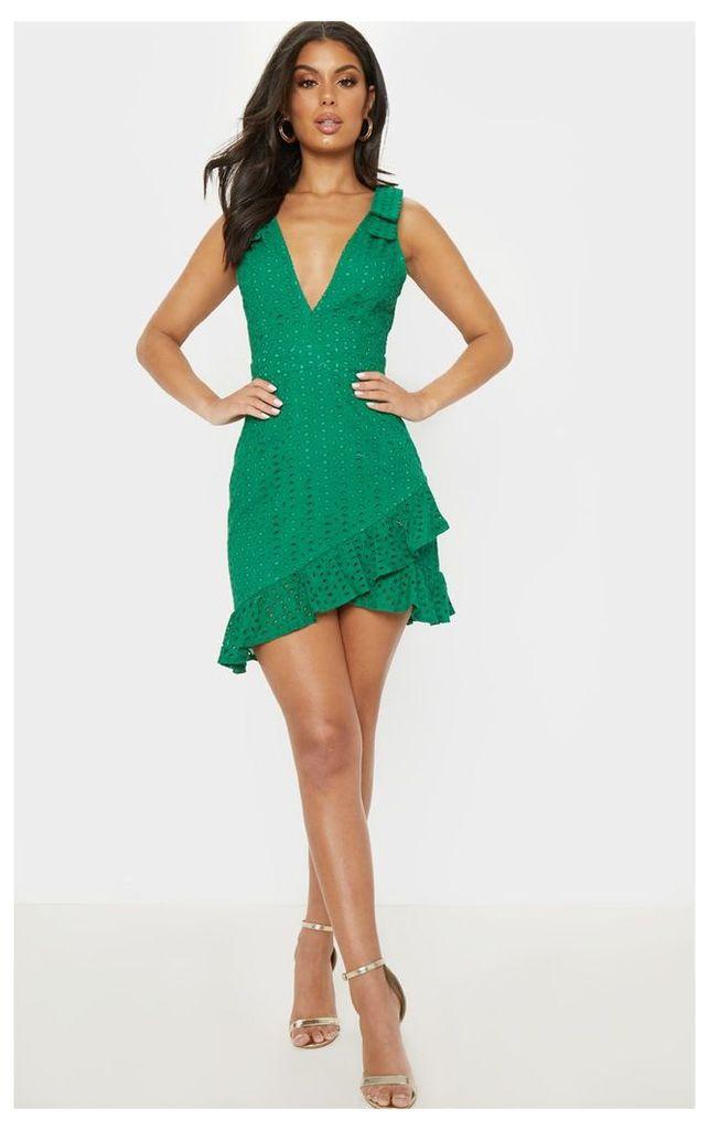 Green Broderie Anglaise Strap Detail Frill Hem Shift Dress, Green