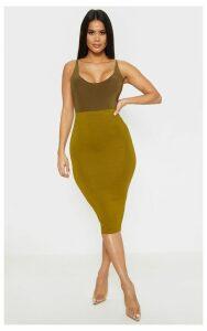 Basic Pale Olive Midi Skirt, Pale Olive
