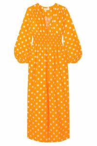 Nicholas - Smocked Polka-dot Cotton And Silk-blend Maxi Dress - Saffron
