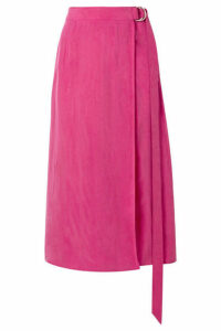 Sally LaPointe - Cupro Wrap-effect Midi Skirt - Fuchsia