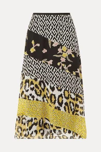 Diane von Furstenberg - Darcie Printed Silk-chiffon Midi Skirt - Yellow