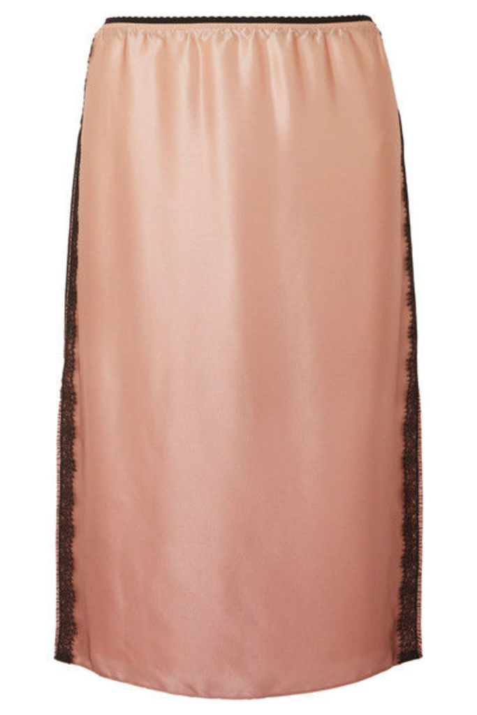 Jason Wu - Lace-trimmed Silk-charmeuse Skirt - Blush