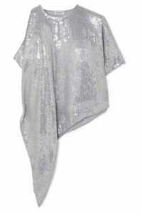 Ashish - Asymmetric Sequined Georgette Top - Silver