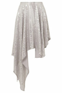 Ashish - Asymmetric Sequined Georgette Midi Skirt - Silver
