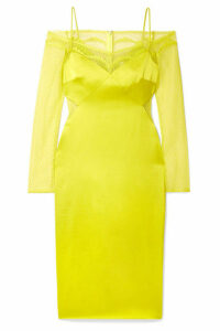 Cushnie - Cold-shoulder Lace-trimmed Satin Midi Dress - Chartreuse