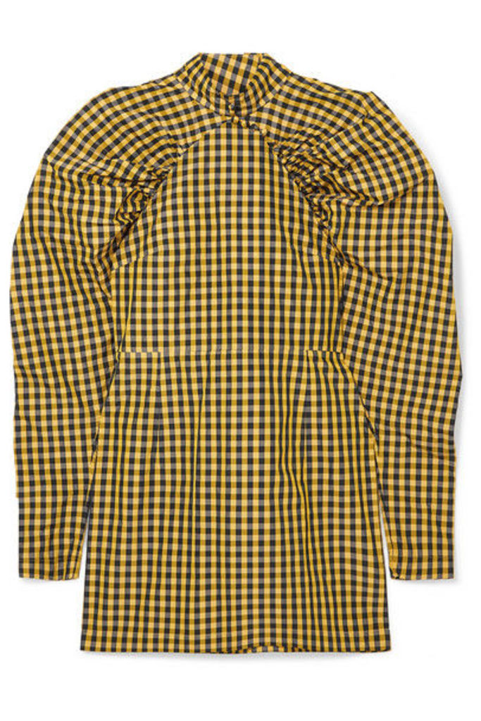ROTATE Birger Christensen - Gathered Checked Twill Mini Dress - Yellow