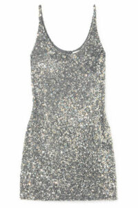 Ashish - Sequined Georgette Mini Dress - Silver