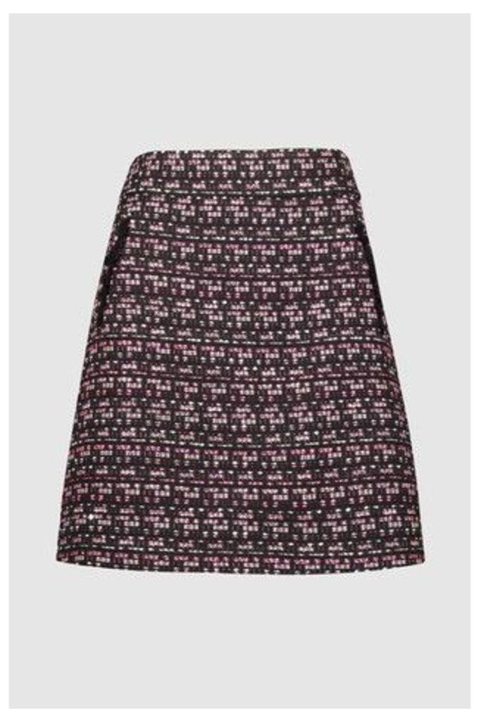 Womens F&F Multi Textured Bouclé Skirt -  Natural