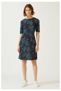 Womens Jigsaw Blue Waterfall Print Jersey Dress -  Blue