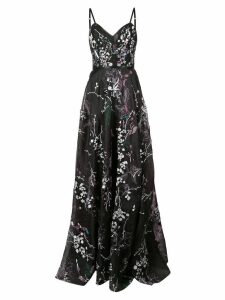 Marchesa Notte floral embroidered gown - Black
