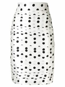 Bambah polka dot ruched pencil skirt - White