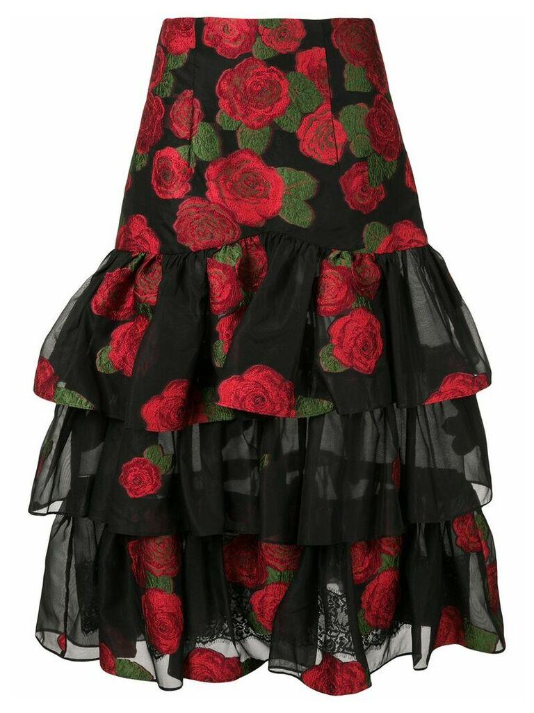 Bambah roses ruffle skirt - Black