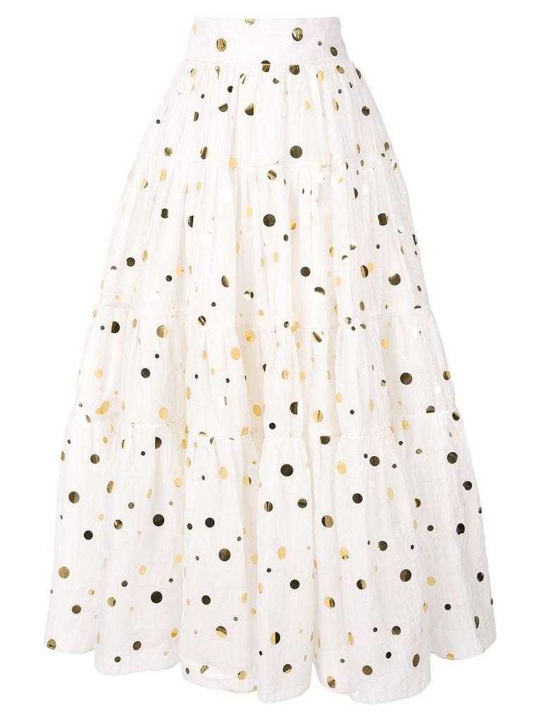 Bambah polka Peasant skirt - White
