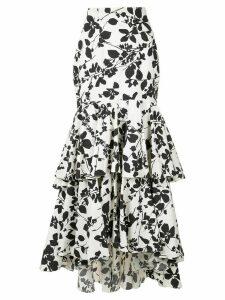 Bambah floral ruffle skirt - White