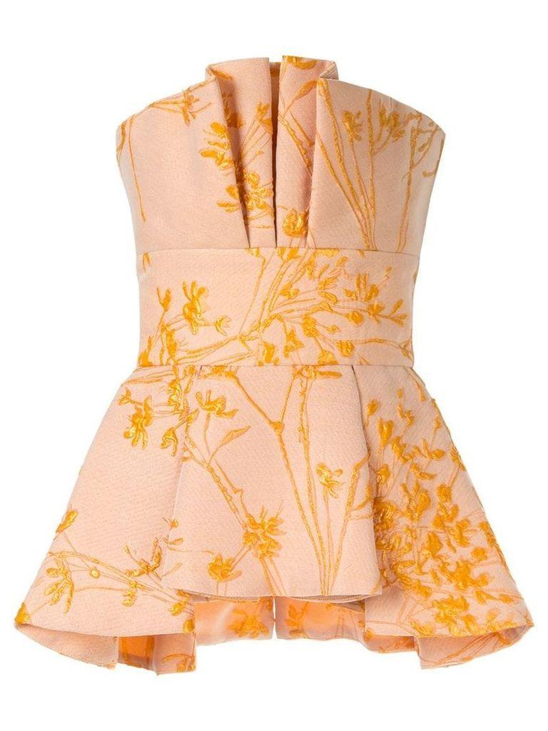 Bambah embroidered peplum top - Yellow