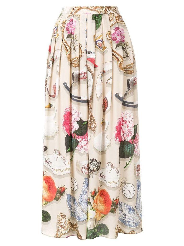 Boutique Moschino printed maxi skirt - Neutrals