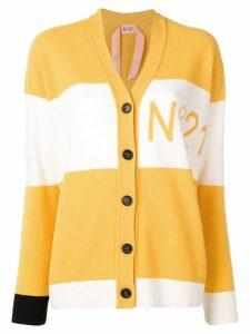 Nº21 two-tone wool logo cardigan - Yellow