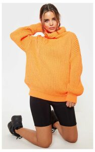 Petite Neon Orange Roll Neck Oversized Chunky Knit Jumper, Neon Orange