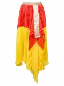 Sacai colour block pleated skirt - Yellow