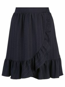 Ganni pin stripe ruffled skirt - Blue
