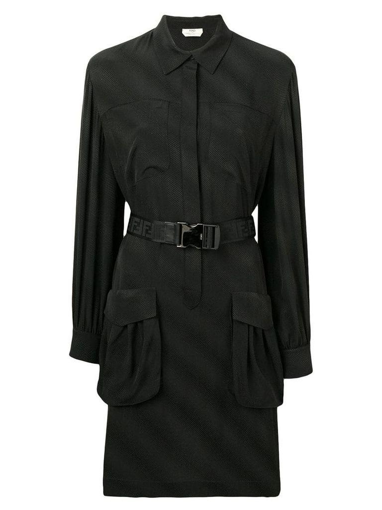 Fendi belted shirt dress - Black