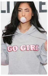 GO GIRL Hoodie Grey, Grey