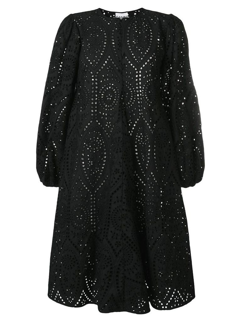 Ganni broderie anglaise flared dress - Black