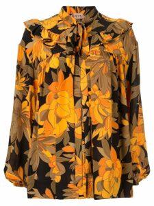 Nº21 ruffle detail floral print blouse - Orange