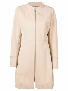 Herno structured front zip coat - Neutrals