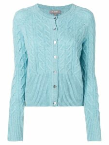 N.Peal cable-knit cashmere cardigan - Blue