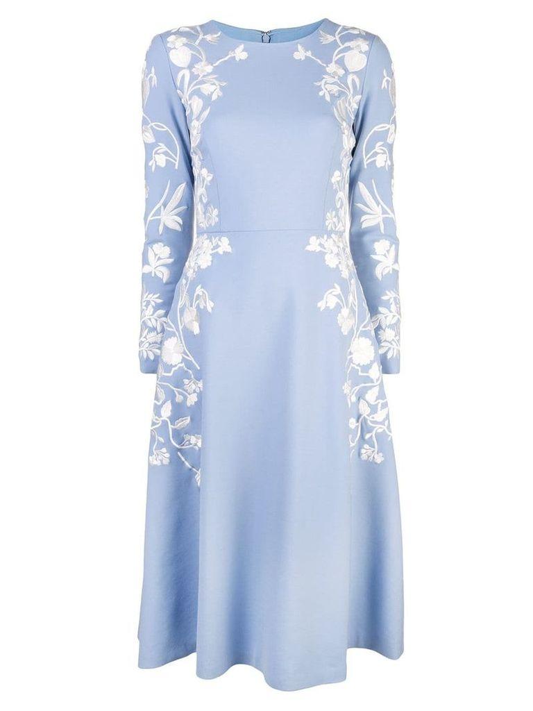 Oscar de la Renta embroidered floral dress - Blue