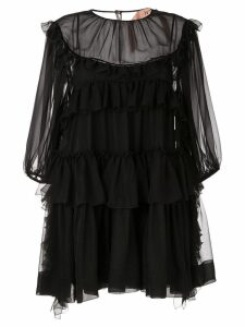 Nº21 ruffle trim mini dress - Black